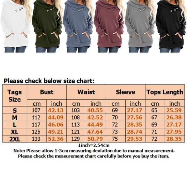 Kvinnor Hooded Sweatshirt Solid Baggy Pockets T Shirt Tops Svart XXL