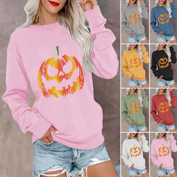 Kvinnor Halloween Pumpkin Crew Neck Långärmad tröja Pullover Rosa S