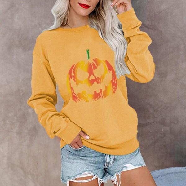 Kvinnor Halloween Pumpkin Crew Neck Långärmad tröja Pullover Gul M