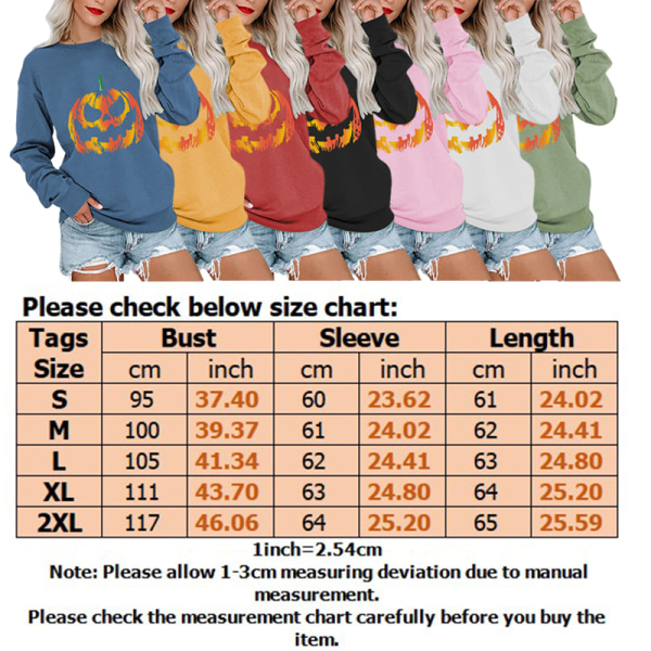 Kvinnor Halloween Pumpkin Crew Neck Långärmad tröja Pullover grå M