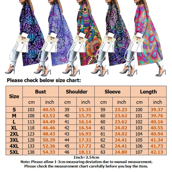 Kvinnor Plus Size Blommig Lång Trench Coat Cardigan Peacoat Färgrik XXL