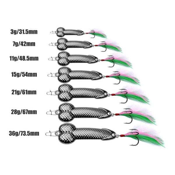 11g metallsked fiske spinner bete fjäder krok skala paljetter