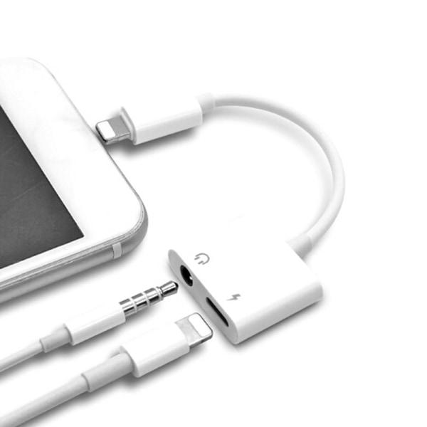 2In1 Dual Lightning Adapter hörlursuttag Ljudladdningskabel Fo