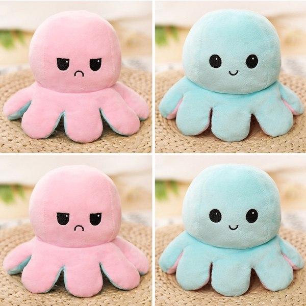 Dubbelsidig Flip Reversibel Octopus Kid Rosa-ljusblå leksak pink-light blue
