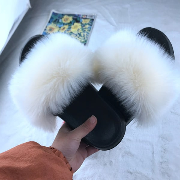 Kvinnor bekväma fluffiga pälsplatta Sliders Toffles Sandaler Black White 43