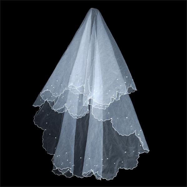 1,5 M vit / beige pärla midjelängd bröllop brudslöja bröllop