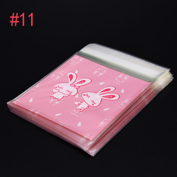 100st / mycket Cookie Packaging Pink Rabbit Lovely Bear Självhäftande