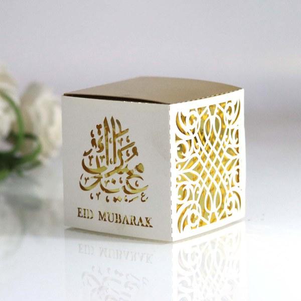 10st Meidding Ramadan pappers presentförpackning Kareem dekoration Eid Muba
