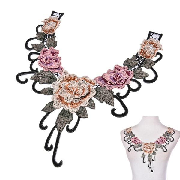 1PC broderad blommig spets halsringning krage trim kläder S
