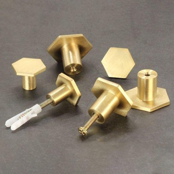 1 st Guld Antik Mässing Hexagon Knoppar Skåp Knopp Handtag Kommode