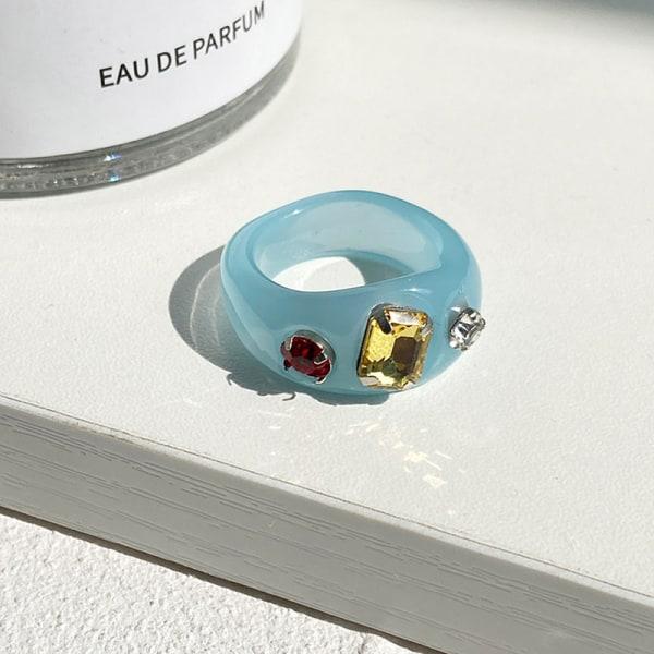 1 st koreanska oregelbundna geometriska färgglada genomskinliga crystal rhin