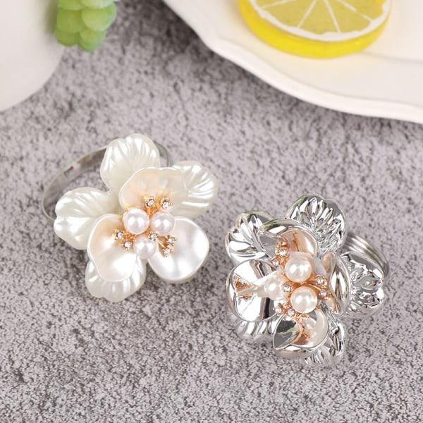1 st servettring pärlblomma servett spänne galvaniserande blomma