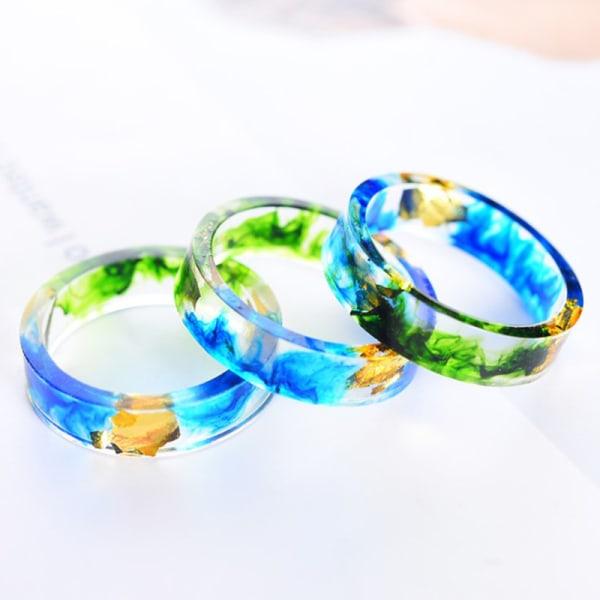 1 st harts ring torkade blommor växter inuti smycken harts ring