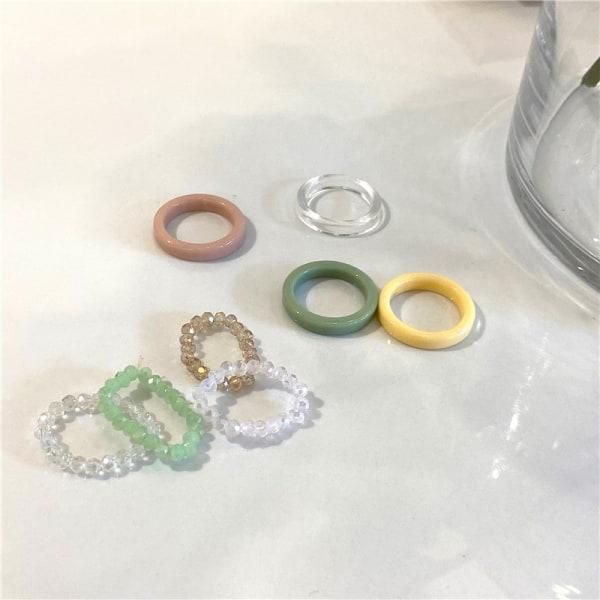1x mode trendiga n flerfärgade små kristallpärlor ring wo A3