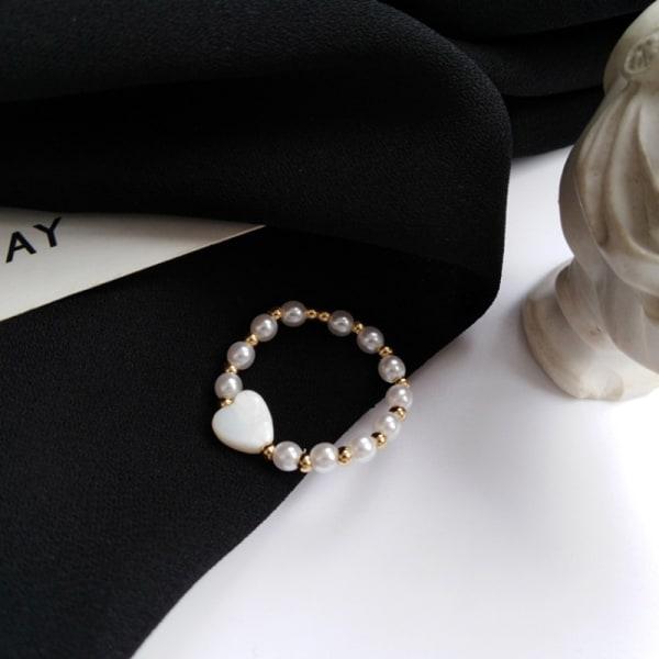 1x n mode elastiska rep pärlpärlor ring elegant enkel h one size