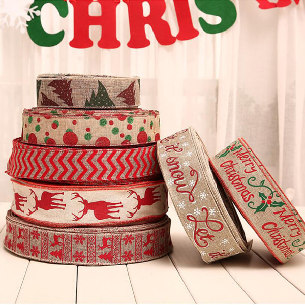 2 / 5M Christmas Snowflake Deer Linen Ribbon Grosgrain Party Deco