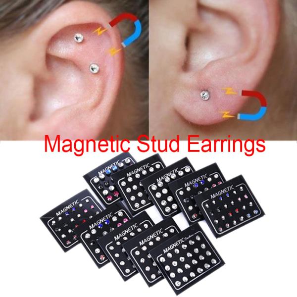 24st / Set Magnetisk icke-piercing Clip Round Rhinestone Stud Earr