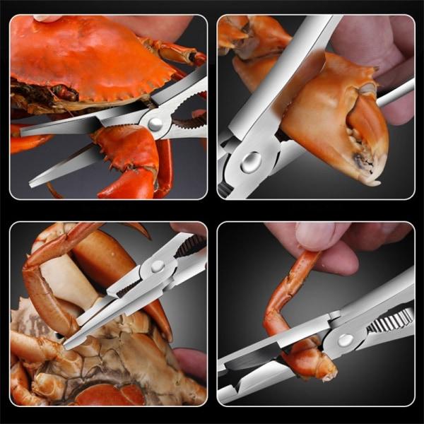 2st rostfritt stål sea cracker pick gaffelsats för krabba lobar onesize