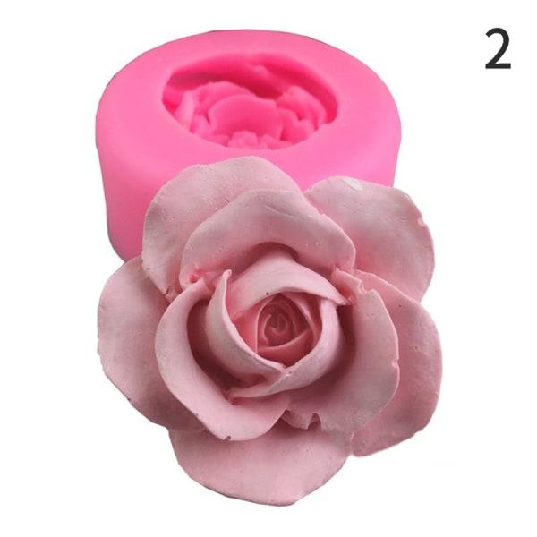 3D blomma blommar rosform silikon fondant tvålkakform mögel cupca 2