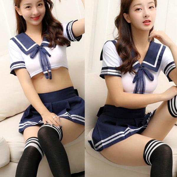 3st Cheerleader Kostym Skolflicka Underkläder Uniformer Cosplay L