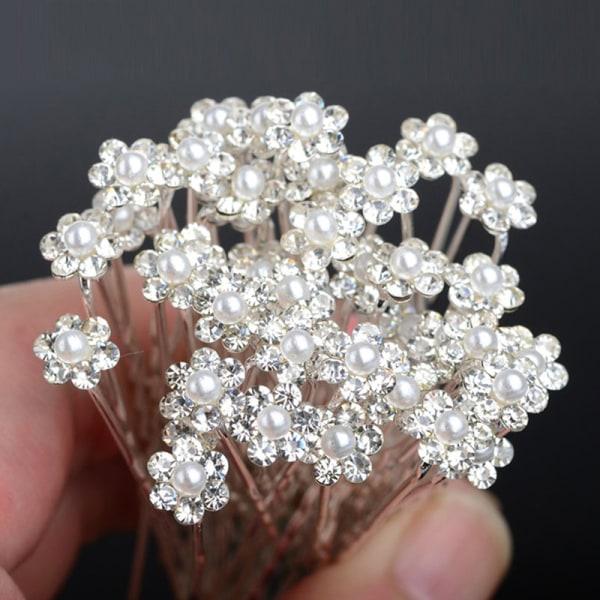 40 ST Bröllopshårnålar Crystal Pearl Flower Bridal Hairpins H