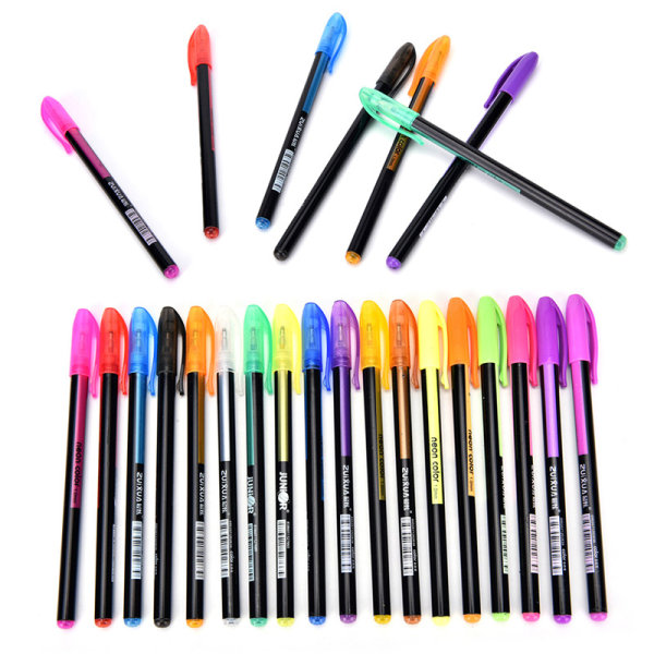 48st Fluorescerande Gel Bläckpenna Påfyllningar Akvarellborste Färgglada