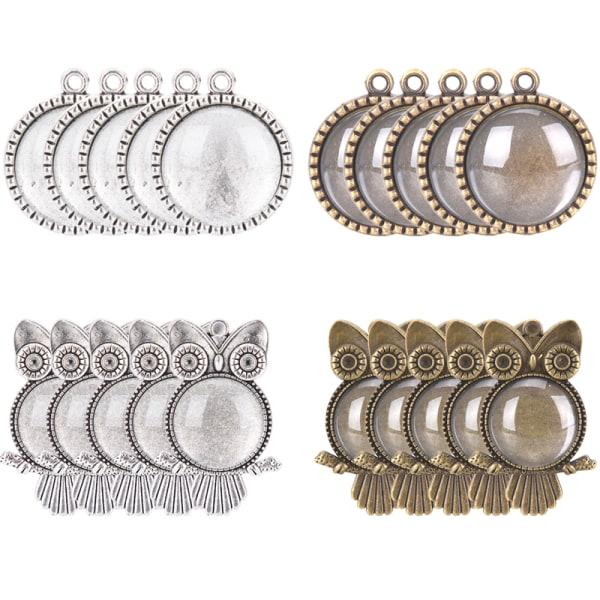 48st / set Uggla hängande brickor med glas Cabochon Base DIY Jewelr