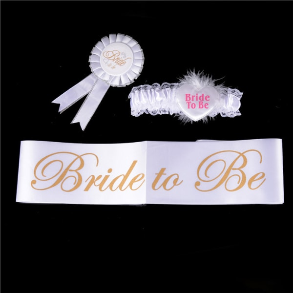 4st Bride to be White Garter Sash Veil Badge Rosette Bachelore
