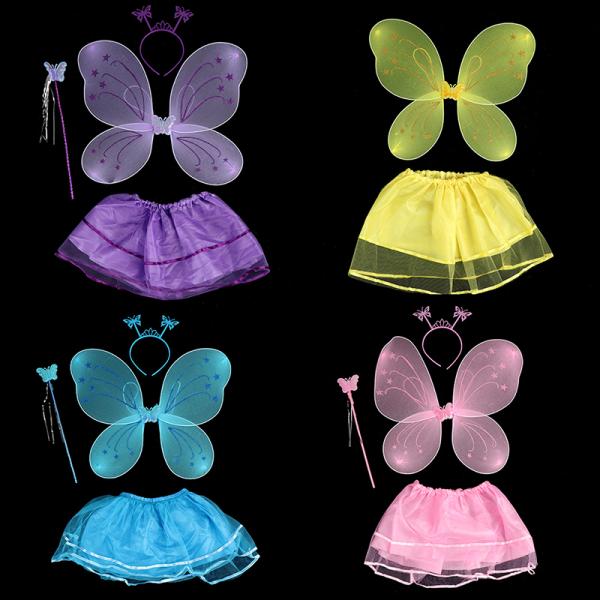 4st barn färgglada scen slitage fjäril vingar trollspö huvudband tutu