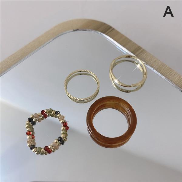 4st / uppsättning ny färgstark akryl geometrisk ringharts transparent b A