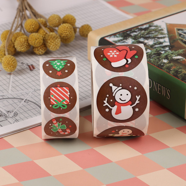 500st / rulle förpackning jul klistermärken klisterlapp lim L
