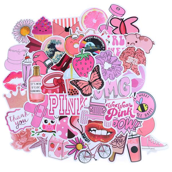 50st Cartoon Pink Girls Stickers DIY resväska bärbar gitarr Bi