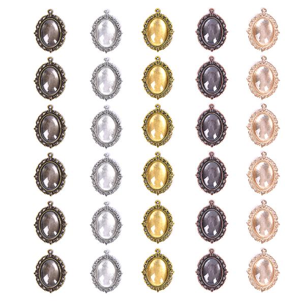 60st 5 färger Runda hängande brickor Cabochon Crafting DIY J