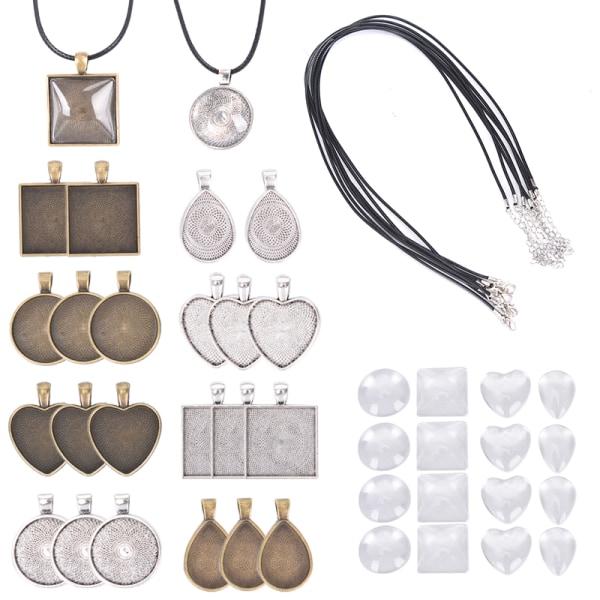 60st Hängbrickor Ljusglas Cabochon Halsband för Pho