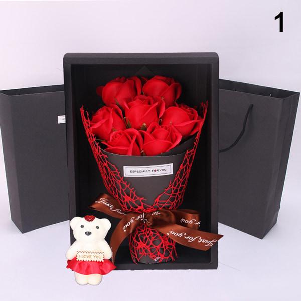 7 Rose Soap Flower Presentask Liten bukett för bröllop Valentin