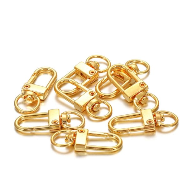 10st / parti 12x33mm Roterande Hundspänne Guld Rhodium Metal Lobste Gold