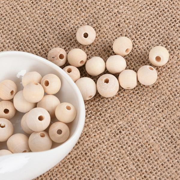 Box Natural Round Wood Spacer Pärla Omålade träbollspärlor