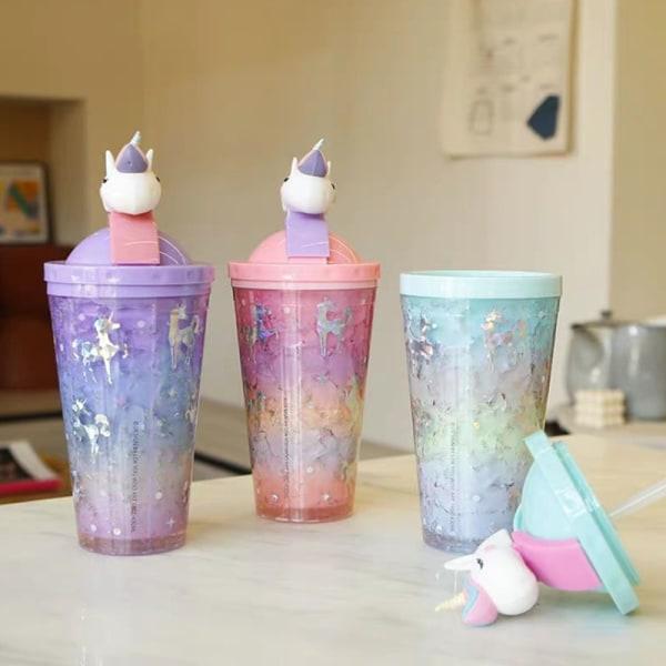 kreativ vattenflaskstrå typ med lock sommar stor kapacitet