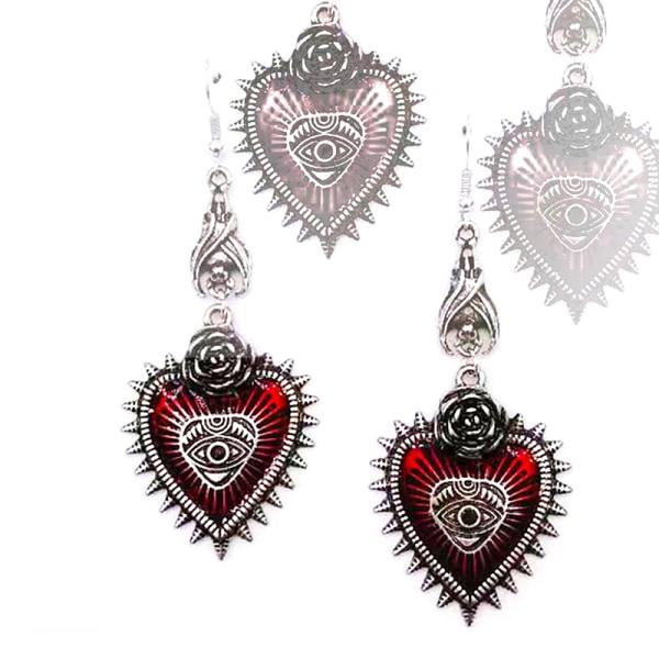 droppe örhänge smycken blodros hjärta olja bat gotiska retro hangi Red