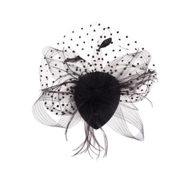 Elegant Lady Top Net Mesh Birdcage Feather Fascinator Hairpin H