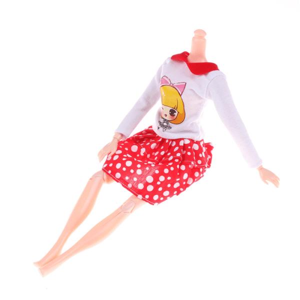 Mode handgjord docka vit prickar kjol för 11 '' '' '' 'docka del