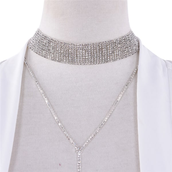 Mode kvinnor nyckelben halsband Rhinestone hänge kedja choker