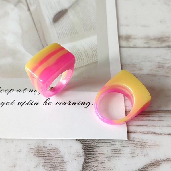 geometriska vattendroppe harts stora vackra ringar för kvinnor Pink