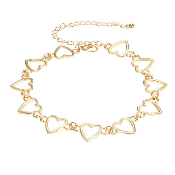gotisk söt kärlek hjärta liten choker halsband uttalande gåva cou Gold