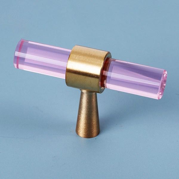 kristall mässing knopp och handtag nordisk stil dörrhandtag h Pink