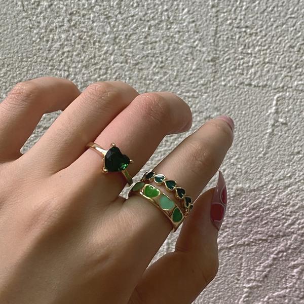 new ins sweet two color drop oil love ring söt hjärtring för w Coffee Size 7