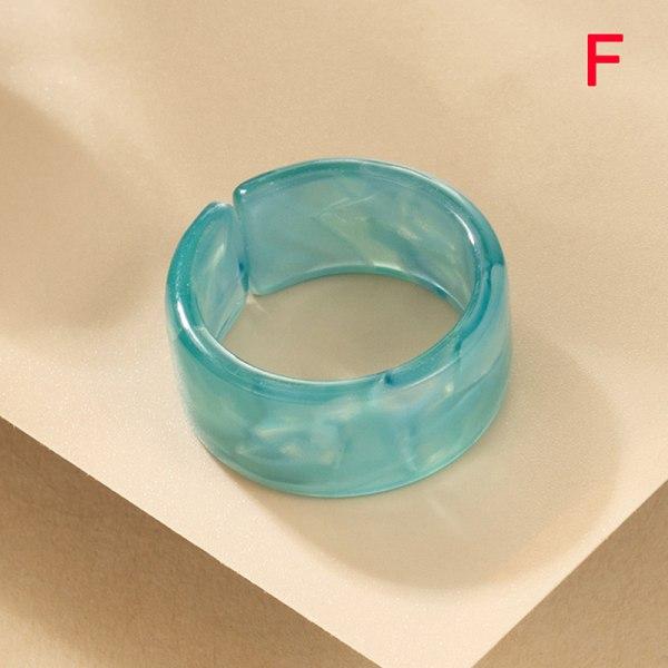 ny n harts ring färgglad fyrkantig rund ring akryl kristall F