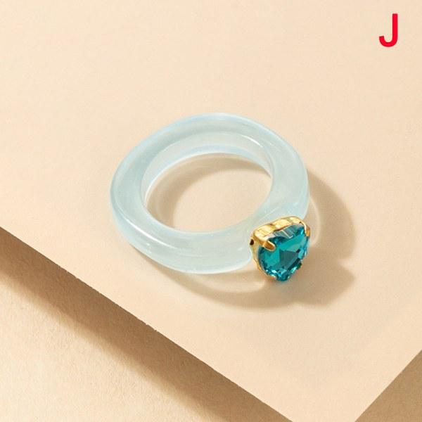 ny n harts ring färgglad fyrkantig rund ring akryl kristall J