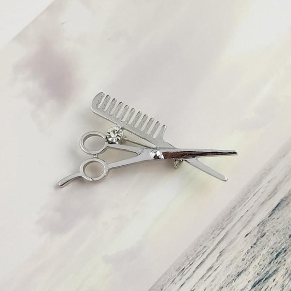 ny trend modeaccessoarer frisör sax brosch brosch män A1