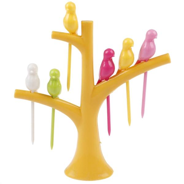 plockar för barn plast frukt gaffel träd fågel efterrätt gaffel se Yellow